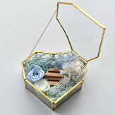 Flip Love Heart Shaped Geometric Glass Jewelry Box Glass Ring Box  Wedding Decoration