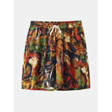 Mens Multicolor Print Vintage Style Casual Shorts mit Tasche