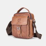 Bullcaptain Men Genuine Leather Multifunction Anti-theft Multi-Layers Casual Crossbody Bag Shoulder Bag