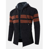 Mens Colorblock Knitted Zipper Warm Hooded Sweater Cardigans