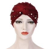 Side Flower Headband Cap Turban Cap
