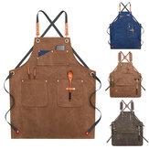 Leinwand Holzbearbeitung Schürze Shop Schürze Taschen Waxed Wax Cloth Wasserdichte Schürze Chef Werkzeug Lagerung