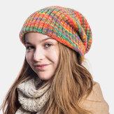 Unisex de lana mezcla de rayas de colores del arco iris Patrón Plus Terciopelo grueso cálido pareja Sombrero Gorro de punto Sombrero
