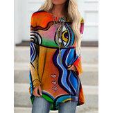 Женщины Граффити печати с длинным рукавом нерегулярные повседневные свободные Plus размер блузка