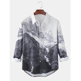 Mens Cotton Scenery Print Revers Langarmhemden mit gebogenem Saum