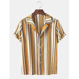 Chemises à manches courtes à col Henley larges pour hommes