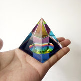 6cm Crystal Iridescent Pyramid Prism Arcobaleno Colore Home Decor FengShui Reiki Healing Decorations