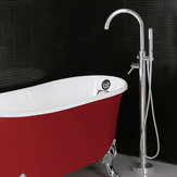 Chrome Curved Round Freestanding Tap Bathroom Tub Faucet with Bath Shower Head