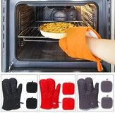 4 peças antiderrapantes tapetes resistentes ao calor Luvas de forno de cozimento espessas 2 luvas + 2 almofadas de isolamento térmico