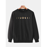 Cotton Mens Lunar Eclipse Print Round Neck Long Simple Sweatshirts
