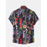 Grappige Colorful Graffiti-print casual T-shirts voor heren