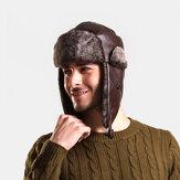 Masculino PU Couro Veludo Inverno Mantenha Aquecido Orelha Proteção Cor Sólida Couro Capucha Cap.