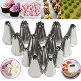 14Pcs Stainless Steel Flower Icing Torneiras Tubulações Bolo Pastry Decoração Acessórios Ferramenta de cozimento