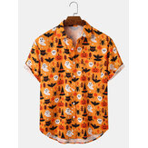 Mens Halloween Pumpkin Cartoon Button Down Casual Short Sleeve Shirts