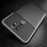 Bakeey for Xiaomi Redmi 9 Case Luxury Carbon Fiber Pattern Shockproof Silicone Protective Case Back Cover with Lens Protector Non-original