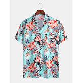Mens Tropical Flroal Print Holiday Casual Short Sleeve Shirts
