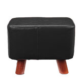 PU Soft Foot Stool Soft Change Shoes Bench Small Ottoman Footrest Footstool Wooden Legs Rectangular Seat Stool Home Supplies