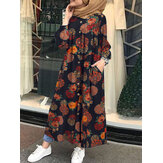 Women Retro Floral Print O-neck Button Robe Shirt Maxi Dress With Pocket