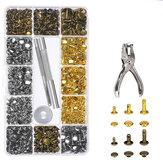 360 sztuk nity skórzane nity z podwójną nasadką metalowe narzędzie do mocowania z zestaw szczypiec do dziurkowania Craft zatrzask zatrzaskowy narzędzie do naprawy
