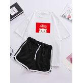 المرأة الكرتون القط طباعة البيجامة قصيرة الأكمام الرباط السراويل الرياضية ملابس النوم