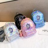 Bright Face Laser Backpack Cartoon Cute Unicorn Backpack Girl Casual Bag Tide Pu