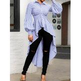 Frauen Stripe Print Schwalbenschwanz Long Shirts Casual Bluse