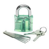 5st Unlocking Lock Pick Set + Transparent Practice Hänglås 5-Färg Optional