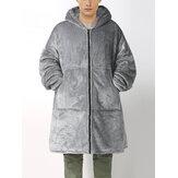 Erkek Flanel Sıcak Soft Düz Renk Fermuar Kanguru Cep Battaniye Kapşonlu Büyük Boy Ev Elbiseler