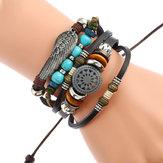 Bracelet en cuir tressé noir ajustable multicouches