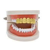Hip Hop Plated Gold Braces Cut Face Cross Texture Teeth Real Gold Plating Teethgrillz Teeth Mould