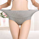 Plus Size Hip Up Waist Slim High Waist Jacquard Soft Cotton Briefs