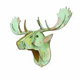 3D Bulmaca Modeli Yaratıcı Avrupa Ahşap Hayvan Geyik Kafası Ev Dekorasyon Aksesuarları Noel Duvar Asılı El Sanatları