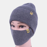 Unisex Wool 2PCS Winter Outdoor Warm Neck Face Protection Knitted Hat Beanie Mask
