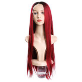 Charming Fluffy Straight Hair Wig High-Temperature Fiber Natural Long Hair Full Wigs Dark Red