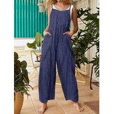 Sem mangas alças ajustáveis bolso causal soltas pernas largas macacões macacões para as mulheres
