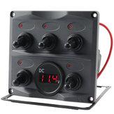 12V 24V 5 Gang LED Rocker Toggle Switch Panel Digital Display Boat Voltage Meter for Car Boat Yacht Motorboat Caravan