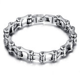Silver Black Stainless Steel Motorcycle Bike Chain Bracelet For Men