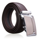 Men Second Floor Cowhide Leather Belt Automatic Buckle Black Brown Waist Strap Waistband