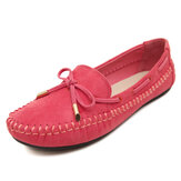Bowknot Artificial Suede Soft Flat Loafers For Women