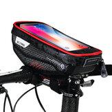 HOMEM SELVAGEM Guiador da bicicleta Bolsa Pacote de telefone com tela de toque Tubo frontal à prova de chuva Bolsa MTB Acessórios de bicicleta de estrada