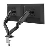 BlitzWolf® BW-MS3 Soporte doble Monitor con brazos neumáticos dobles, rotación de 360 °, inclinación de + 90 ° a -45 °, giro de 180 °, altura ajustable y gestión de cables