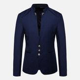 Pánské Stylový stojan límec Slim Suit Jacket Blazers