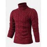 Herre Twisted strikket høj hals ensfarvet afslappet grundlæggende sweater