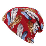 Women Cotton Print Dual Use Beanie Cap Causal Windproof  Collar Scarf