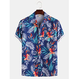 Mens Hawaiian Style Coco Leaf Flower Print Breathable Short Sleeve Shirts