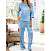 Women Stripe Print Round Neck Tops Pocket Pants Home Two Picece Pajama Set