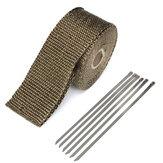 50mmx5m Egzoz Isı Sarma İzolasyon Boru Bant Titanyum Cam Elyaf 6 Paslanmaz Kravatlı