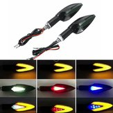12V Universal Motorcycles LED Turn Signal Indicator Lights Running Daytime Lamp 3 Color