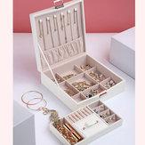 Flanelle Carré Boîte À Bijoux Simple Disposition 2 Couches Maquillage Organisateur Choker Anneau Collier Boîte De Rangement
