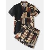 Pijama de bolso masculino com estampa abstrata patchwork com decote em V Sauna